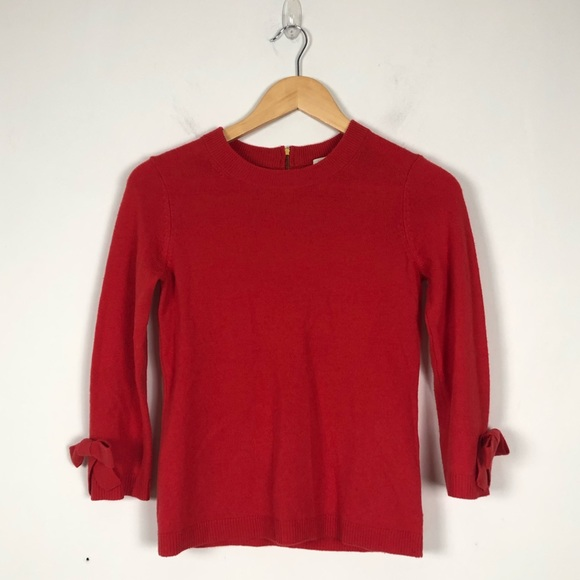kate spade Sweaters - Kate Spade Coral Bow Sleeve Sweater (XS)